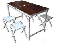 Набор для кемпинга стол и 4 стула для пикника чемодан -коричневый
