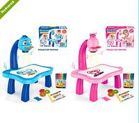 Детский проектор для рисования со столиком 2 вида YM6776, YM6886, 24 слайда, 12 фломастеров