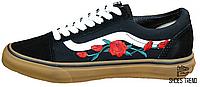 Женские кеды Vans Old School Roses Black/White/Brown, Ванс Олд Скул
