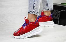Женские Кроссовки Versace Chain Reaction,Версаче,красные с белым, фото 3