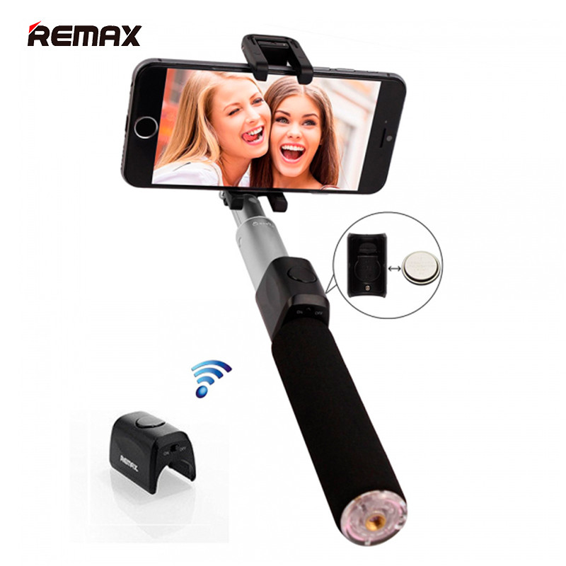 Селфи палка беспроводной монопод Remax Selfie Stick RP-P4 для смартфонов (Черная)