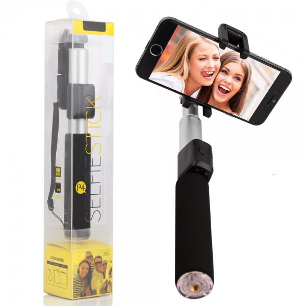 Селфи палка беспроводной монопод Remax Selfie Stick Silver RP-P4 для смартфонов Черная