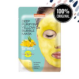 Кислородная очищающая маска с куркумой PUREDERM Deep Purifying Yellow O2 Bubble Mask Turmeric