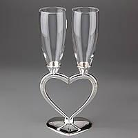 """Хит! Свадебные бокалы на Металлической ножке """"Половинки Сердца"""" №010G"""