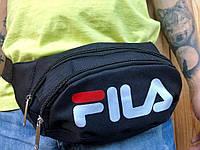 Поясная сумка черная в стиле FILA, 2 отделения (Бананка), из мессенджер pvc, банан, трендовая сумка