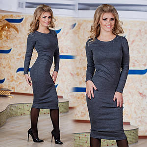 """Элегантное женское трикотажное платье  """"Миди Грей"""" (2203-274)"""