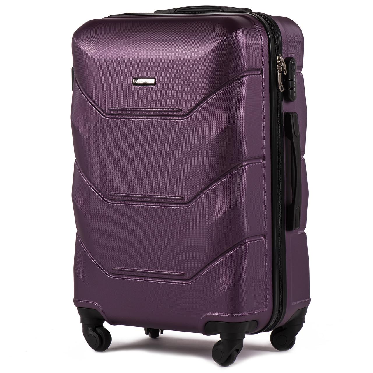 Валіза пластиковий на 4 колесах Wings 147 Середній (M) Фіолетовий