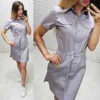 Платье рубашка на поясе коттон серое без рисунка