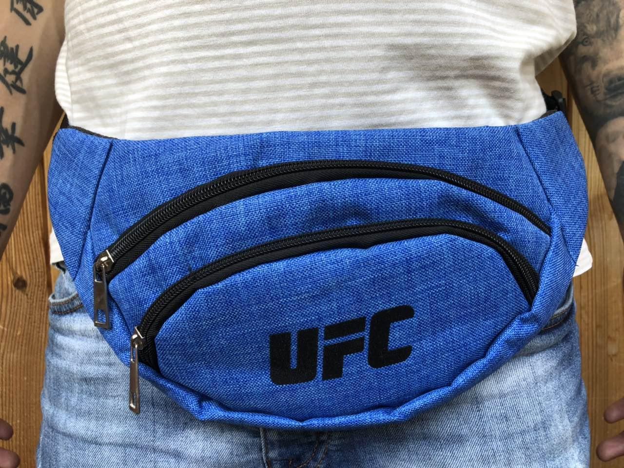 Поясная сумка синяя в стиле UFC 2 отделения (Бананка), из мессенджер pvc, банан, трендовая сумка