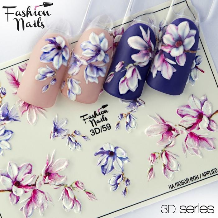 Декор маникюра Fashion Nails водный цветной 3D слайдер-дизайн цветы (3D/59)