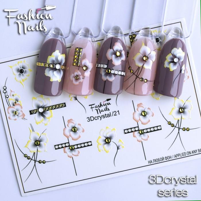 Декор Слайдер-дизайн нігтів - наклейки квіти арт.3Dcrystal/21