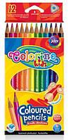 Карандаши цветные триугольные, 12 цветов, COLORINO, 51798PTR