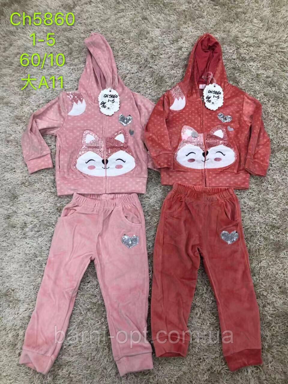 Велюровые костюмы на девочек оптом, S&D, 1-5 рр