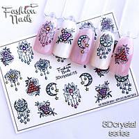 Декор Слайдер-дизайн для ногтей - наклейки цветы, луна, украшения арт.3Dcrystal/15