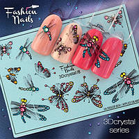 Слайдер-дизайн Fashion nails 3D Crystal - 3D наклейка на ногти - бабочка , стрекоза