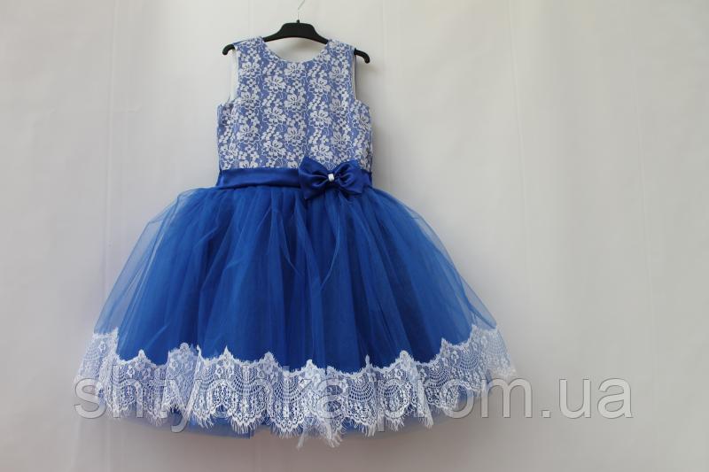 """Нарядное платье на девочку """"Гипюровая мечта"""" в синем цвете"""