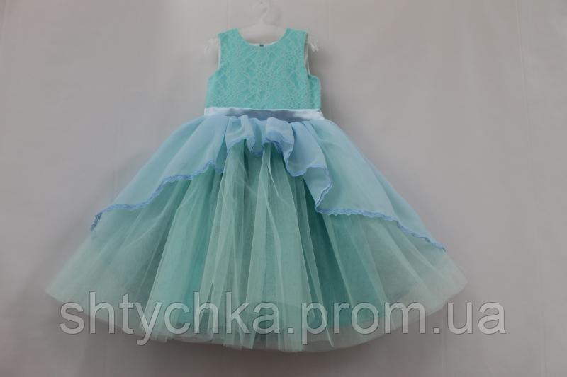 """Нарядное платье на девочку """"Мармеладка"""" в мятно - голубом цвете"""