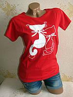 Женская футболка, хлопок. S(42-44), L(46-48)
