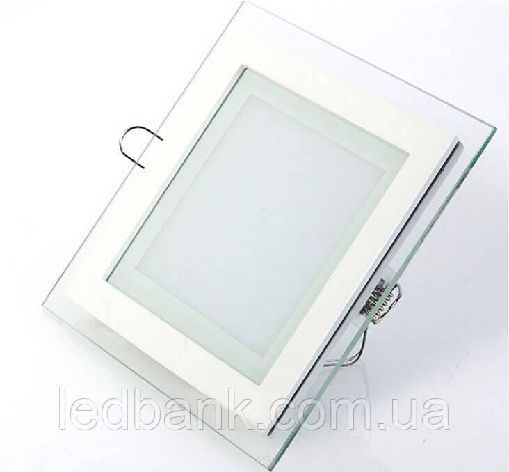 Светодиодный светильник встраиваемый 12 Вт Glass Rim-12 квадратный