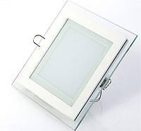 Светодиодный светильник встраиваемый 12 Вт Glass Rim-12 квадратный, фото 1