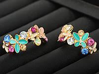 Серьги с бабочками и камнями