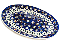 Блюдо сервировочное овальное среднее керамическое 31 х 20 Перо Павлина, фото 1