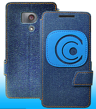 Чехол-книжка для Huawei Honor 3 джинс синий