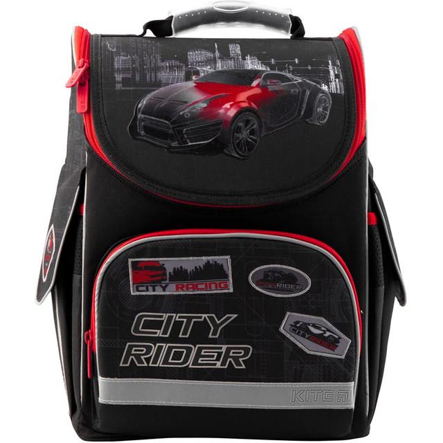 Фото Черный школьный рюкзак с автомобилем для мальчика