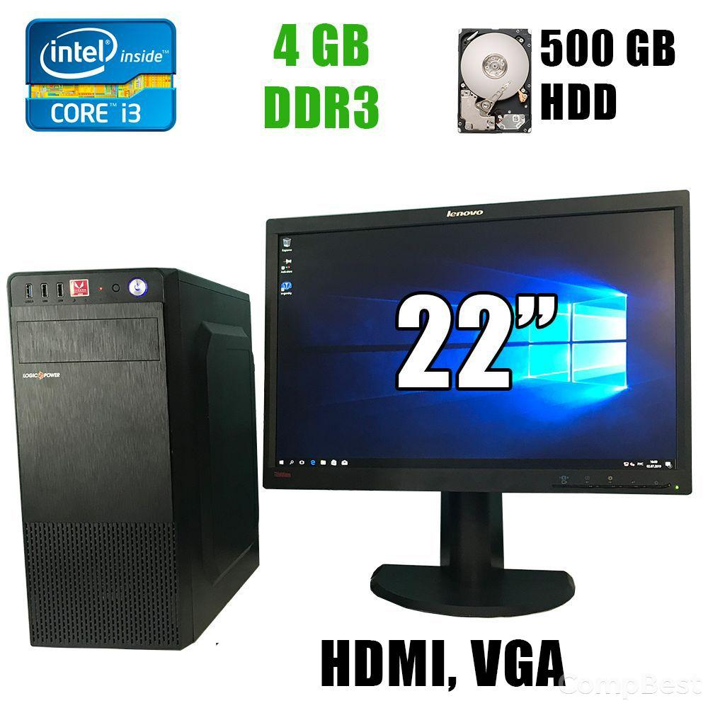 """Logic power / Intel® Core™ i3-2120 (2(4)ядра по 3.3GHz) / 4GB DDR3 / 500GB HDD / 350W /HDMI, VGA, USB + Монитор LT2252pwA / 22"""" (1680x1050) 16:10 TN"""