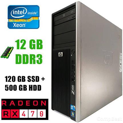 HP WS Z400 Tower/ Intel Xeon W3565 (4(8)ядра по 3.20-3.46GHz)/ 12GB DDR3/ new! 120GB SSD+500GB HDD/ 475W / Radeon RX470 4GB DDR5 256bit / HDMI, DVI,, фото 2
