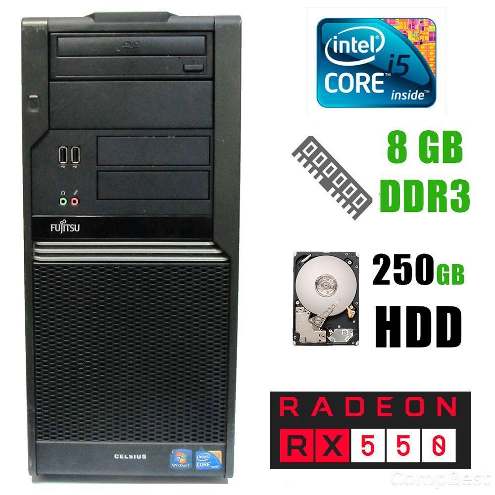 Fujitsu Celsius W380 / Intel® Core™ i5-650 (2(4)ядра по 3.20 - 3.46GHz) / 8GB DDR3 / 250GB HDD / DVD-RW, SATA / AMD Radeon RX550 2GB DDR5 128bit