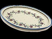 Блюдо овальное плоское с ушками большое керамическое 34 х 26 Лесной венок, фото 1