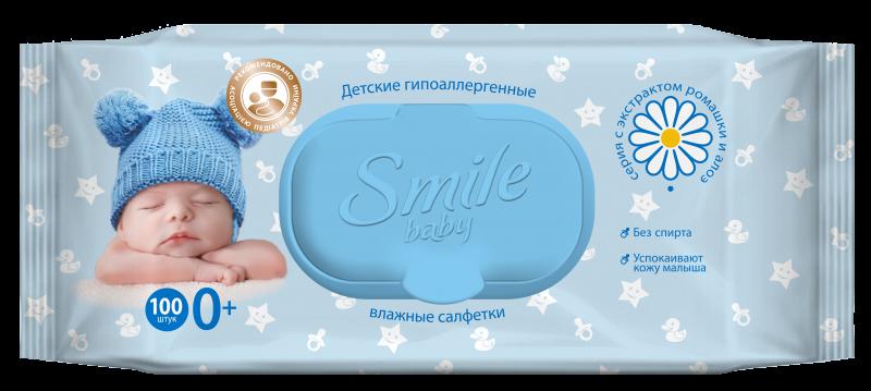 Салфетки влажные детские Smile Baby с экстрактом ромашки (100шт.)
