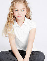 Школьнаяблуза трикотажнаябелаяс коротким рукавом на девочку 5-6, 9-10 лет Marks&Spencer Англия 7-8