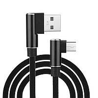 Кабель Нейлон Поворот 90° 2 метра USB 2.0 с разьемом Type C  (Черный, Белый), фото 1