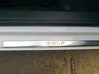 Накладки на пороги volkswagen golf 6 (фольксваген гольф 6), 4 шт. логотип гравировкой, нерж.