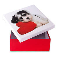 """Коробка подарочная """"Собака с сердцем"""" 14 х 14 см"""