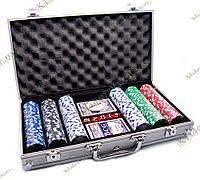 Покерный набор в алюминиевом кейсе (2 колоды карт + 300 фишек, 38х22,5х6,5 см), фото 1