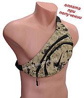 Чоловіча спортивна тканинна сумка слінг бананка на пояс через плече груди Nike в камуфляжному стилі хакі