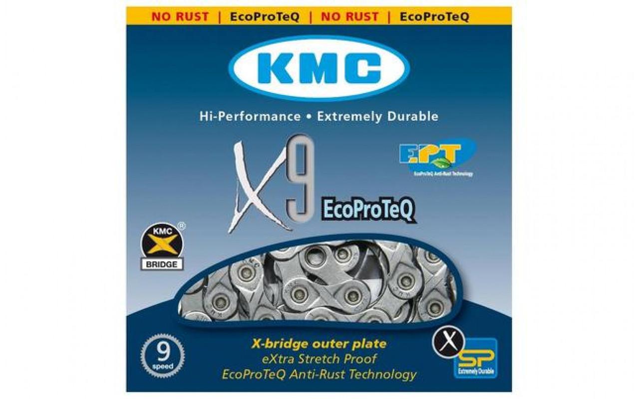 Велосипедная цепь KMC X9 EPT с замком, 9 скоростей