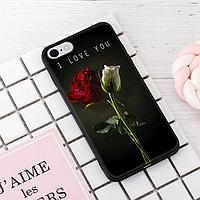 """Винтажный чехол накладка для iPhone 7plus, 8plus. """"I Love You"""". Силиконовый бампер для айфон."""