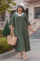 Платье льняное удлиненное свободного фасона, с 48-58 размер, фото 1