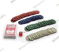 Покерний набір в блістері (Колода карт + 60 фішок, 12х32х5 см)