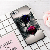 """Винтажный чехол накладка для iPhone 7, 8. """"Кот в очках #1"""". Силиконовый бампер для айфон."""