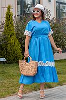 Платье льняное удлиненное с кружевной отделкой, с 48-56 размер, фото 1