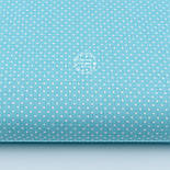 "Лоскут ткани ""Густой горошек 2 мм"" на бирюзовом фоне, №1973а, фото 2"