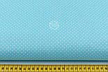 "Лоскут ткани ""Густой горошек 2 мм"" на бирюзовом фоне, №1973а, фото 3"