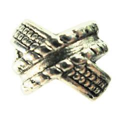 Бусина Шарм Ленты, Металлическая, Цвет: Серебро в стиле Пандора