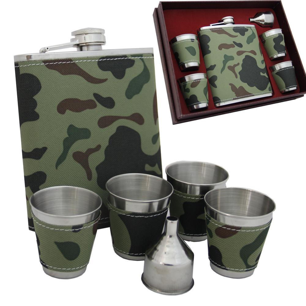 Камуфляжная подарочная фляга стаканчики и лейка. 500 мл. FP61014