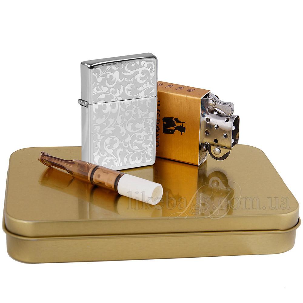 Зажигалка подарочная электрическая чудесная + бензиновая 33157v
